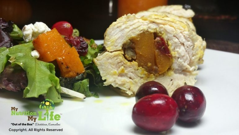 Indian Spiced Butternut Stuffed Turkey Tenderloin