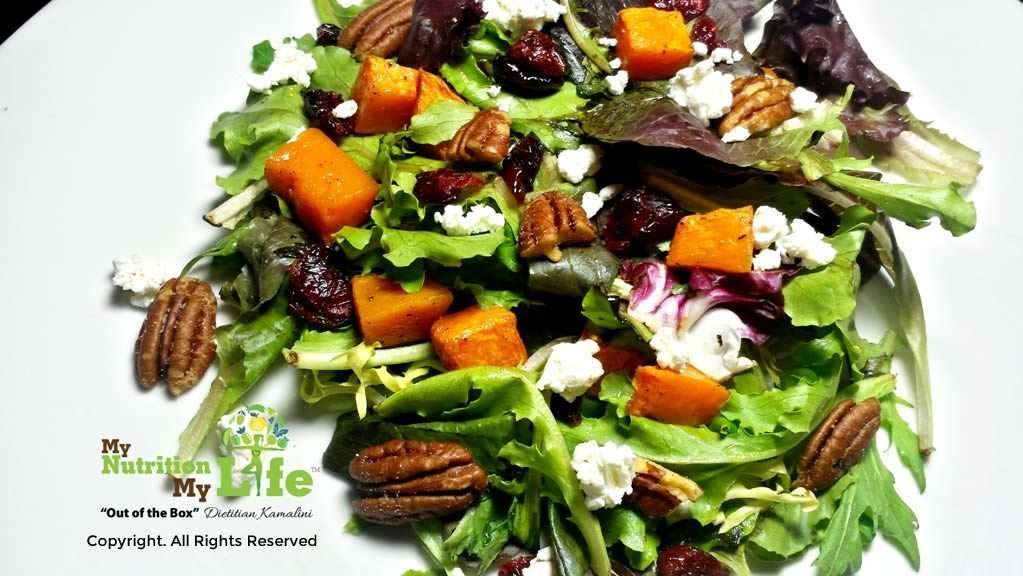 Pumpkin, Cranberry Salad with Maple Vinaigrette
